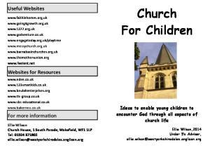Church For Children. Useful Websites. Websites for Resources. For more information