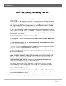 Church Planning Inventory Sample