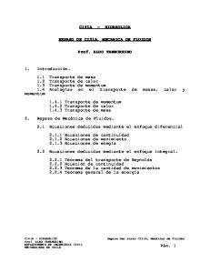 CI41A HIDRAULICA REPASO DE CI31A, MECANICA DE FLUIDOS. Prof. ALDO TAMBURRINO