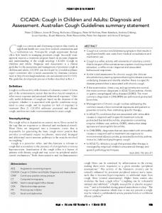 CICADA: Cough in Children and Adults: Diagnosis and Assessment. Australian Cough Guidelines summary statement