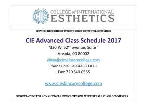 CIE Advanced Class Schedule 2017