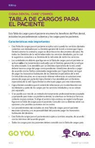 CIGNA DENTAL CARE (*DHMO) TABLA DE CARGOS PARA EL PACIENTE