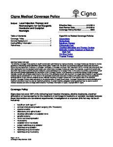 Cigna Medical Coverage Policy