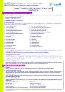 CIGNA TTK LIFESTYLE PROTECTION - CRITICAL CARE PROSPECTUS