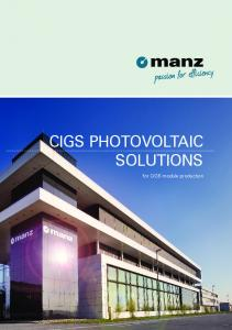 CIGS PHOTOVOLTAIC SOLUTIONS. for CIGS module production