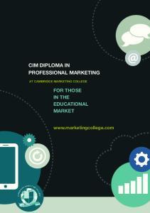 CIM DIPLOMA IN PROFESSIONAL MARKETING