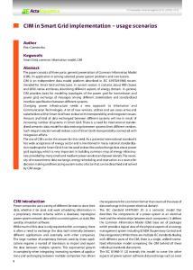 CIM in Smart Grid implementation usage scenarios