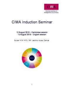 CIMA Induction Seminar