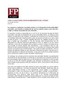 CINCO CLAVES PARA LOS BIOCARBURANTES DEL FUTURO
