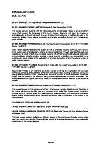 CINEMA STUDIES (AS) {CINE}