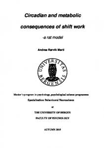 Circadian and metabolic. consequences of shift work