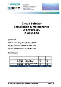 Circuit Selector. Installation & maintenance. 2-6 ways IEC