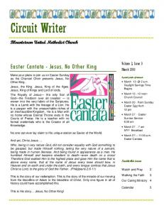 Circuit Writer. Easter Cantata - Jesus, No Other King. Blountstown United Methodist Church. Volume 2, Issue 3 March 2016