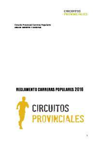 Circuito Provincial Carreras Populares AREA DE DEPORTES Y JUVENTUD