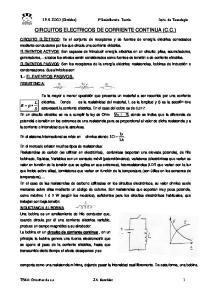 CIRCUITOS ELECTRICOS DE CORRIENTE CONTINUA (C.C.)