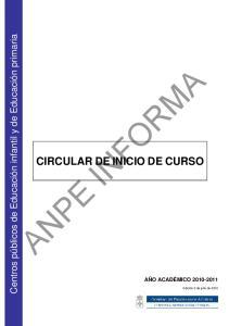 CIRCULAR DE INICIO DE CURSO