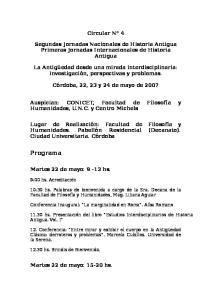 Circular N 4. Segundas Jornadas Nacionales de Historia Antigua Primeras Jornadas Internacionales de Historia Antigua