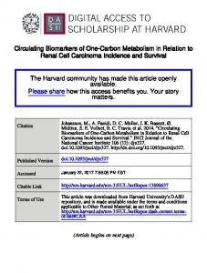 Circulating Biomarkers of One-Carbon Metabolism in Relation to Renal Cell Carcinoma Incidence and Survival