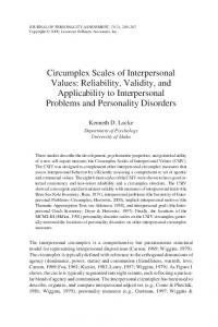 Circumplex Scales of Interpersonal Values: Reliability, Validity, and Applicability to Interpersonal Problems and Personality Disorders