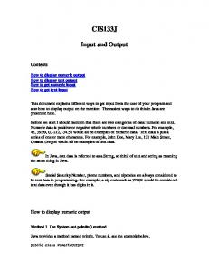 CIS133J. Input and Output