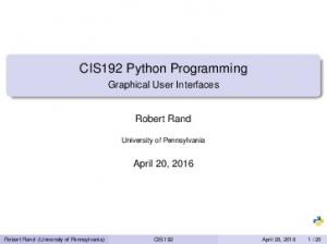 CIS192 Python Programming