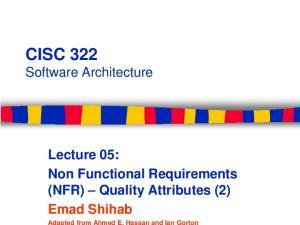 CISC 322 Software Architecture