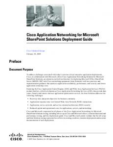 Cisco Application Networking for Microsoft SharePoint Solutions Deployment Guide