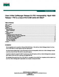 Cisco Unified CallManager Release 5.0-PBX Interoperability: Hipath 4000 Release 1 PBX to a Cisco 3745 ECMA QSIG with MGCP