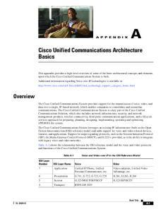 Cisco Unified Communications Architecture Basics