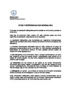 CITAS Y REFERENCIAS CON NORMAS APA