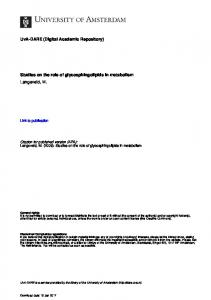 Citation for published version (APA): Langeveld, M. (2009). Studies on the role of glycosphingolipids in metabolism
