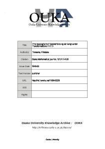 Citation Osaka Mathematical Journal. 1(1) P