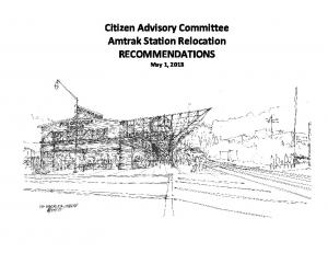 Citizen Advisory Committee Amtrak Station Relocation RECOMMENDATIONS May 1, 2013