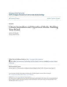 Citizen Journalism and Hyperlocal Media: Building Your Brand