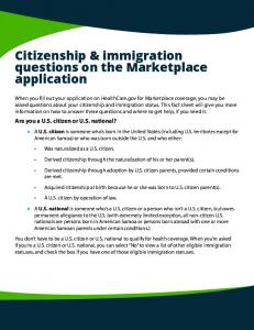 Citizenship & immigration questions on the Marketplace application