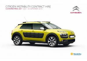 CITROËN MOTABILITY CONTRACT HIRE CUSTOMER PRICE LIST 1 JULY 30 SEPTEMBER 2016