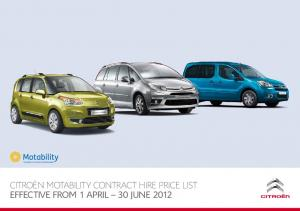 CITROËN MOTABILITY CONTRACT HIRE PRICE LIST EFFECTIVE FROM 1 APRIL 30 JUNE 2012