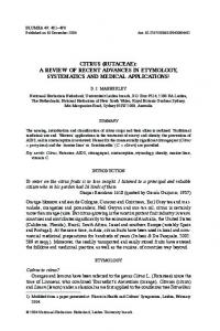 CITRUS (RUTACEAE): A REVIEW OF RECENT ADVANCES IN ETYMOLOGY, SYSTEMATICS AND MEDICAL APPLICATIONS 1