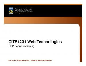 CITS1231 Web Technologies. PHP Form Processing