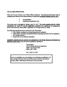 City application Supplemental application form