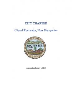 CITY CHARTER. City of Rochester, New Hampshire