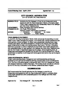 CITY COUNCIL AGENDA ITEM CITY OF SHORELINE, WASHINGTON