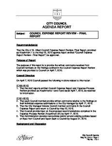 CITY COUNCIL AGENDA REPORT