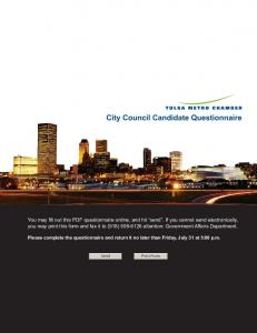 City Council Candidate Questionnaire