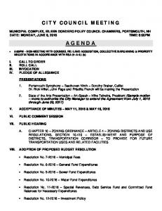 CITY COUNCIL MEETING MUNICIPAL COMPLEX, EILEEN DONDERO FOLEY COUNCIL CHAMBERS, PORTSMOUTH, NH AGENDA
