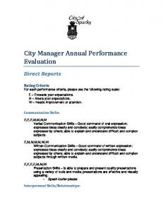 City Manager Annual Performance Evaluation