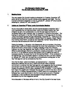 City Manager s Weekly Report For the week ending December 5 th, 2008