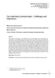 City marketing communication challenges and inspirations