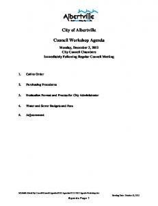 City of Albertville. Council Workshop Agenda