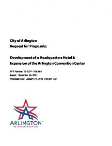 City of Arlington Request for Proposals: Development of a Headquarters Hotel & Expansion of the Arlington Convention Center